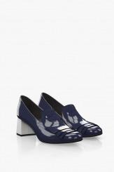 Дамски обувки на ток син лак
