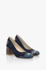 Сини велурени дамски обувки на ток