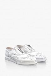Спортни мъжки кожени обувки в бяло