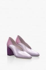 Кожени дамски обувки на ток в лилаво