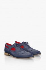 Кожени дамски обувки с връзки в синьо