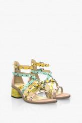 Цветни дамски сандали на ток