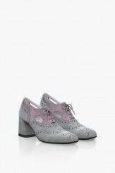 Велурени дамски обувки в сиво