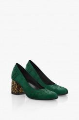 Зелени велурени дамски обувки на ток