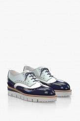 Дамски кожени обувки в син лак