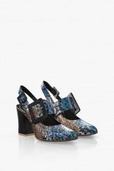 Кожени дамски сандали в син цвят