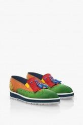 Цветни велурени дамски обувки
