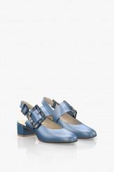 Сини кожени дамски сандали