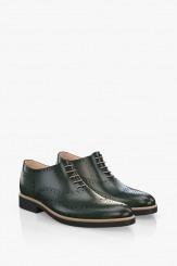 Зелени кожени мъжки обувки