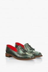 Зелени кожени дамски обувки с пискюл