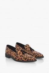 Класически мъжки обувки с леопардов принт