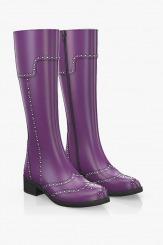 Кожени дамски ботуши в лилав цвят