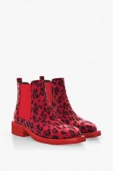 Дамски боти с ластик в червен леопард