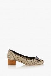 Бежови перфорирани дамски обувки Ариана