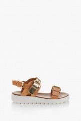 Дамски сандали Катерини цвят камел и злато