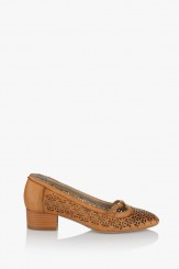 Дамски перфорирани обувки Лондон цвят Карамел