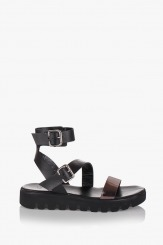 Черни сандали Катерини със сребриста каишка