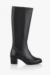 Дамски зимни ботуши с ластик Аби в черно
