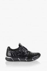 Дамски спортни обувки в черно с пайети Зари
