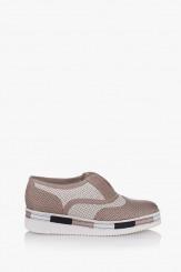 Дамски летни перфорирани обувки в сиво Натали
