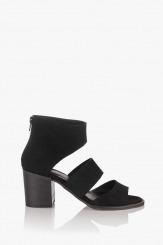 Велурени дамски сандали в черно Белинда