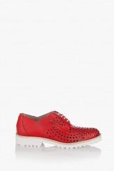 Червени дамски перфорирани обувки Абел
