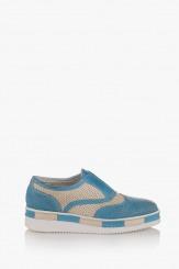 Сини дамски обувки с перфорация Натали