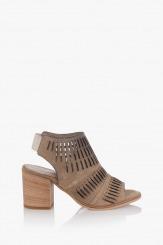 Велурени дамски сандали таупе цвят Белинда