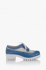 Дамски обувки с перфорация в синьо Алесандриа