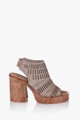 Дамски сандали с перфорация в сиво Дона