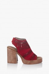 Велурени червени дамски сандали Дона