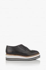 Дамски кожени обувки на платформа Бианко в черно