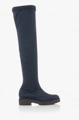 Дамски велурени чизми в синьо Никол