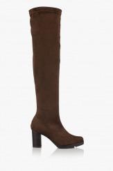 Дамски чизми в кафяво стреч-велур Никол