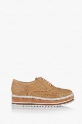 Дамски перфорирани обувки Дани кожа крема