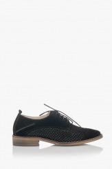 Черни дамски равни обувки с перфорация Мини