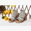 Велурени дамски сандали цвят карамел Дона