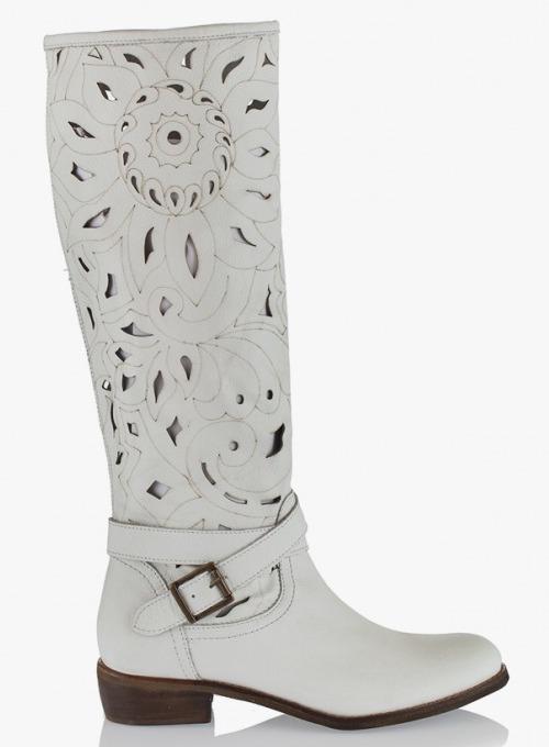 Летни ботуши от естествена кожа в бял цвят Съни