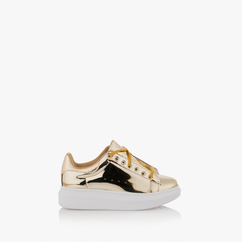 Златисти дамски спортни обувки Съншайн